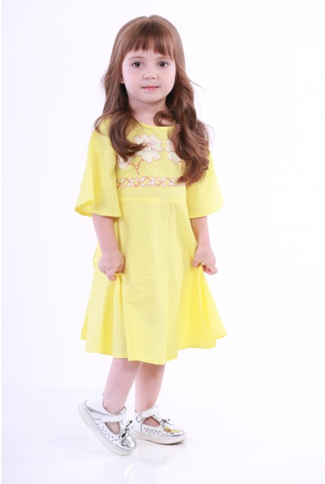 "Embroidered dress for girls  ""Nevistochka"" yellow"