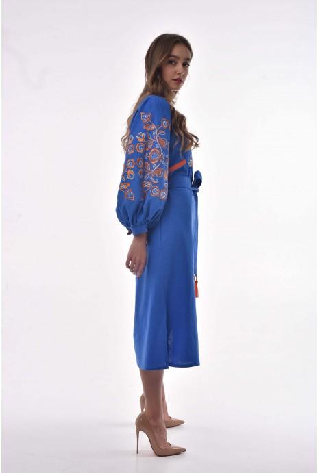 Юбка вышитая «Vihola» голубая