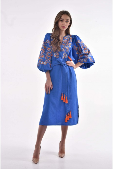 "Embroidered dress ""Znahidka"" cornflower blue"