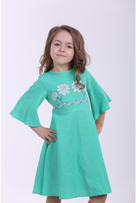 "Embroidered dress for girls  ""Nevistochka""  mint"