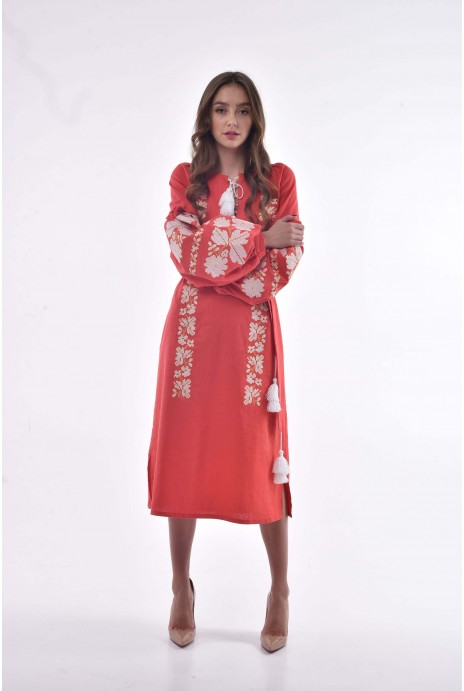 "Embroidered dress ""Nevistochka"" red"
