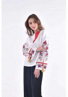 """Blouse embroidered """"Kvitucha dolina"""" white"""