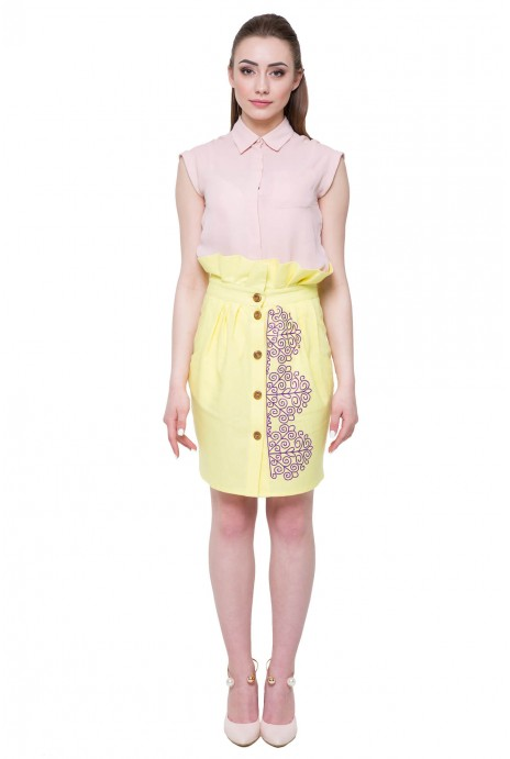 "Embroidered skirt ""Snowstorm"" yellow"