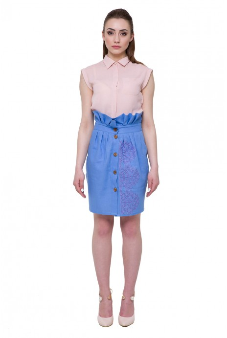 "Embroidered skirt ""Vihola"" light-blue"
