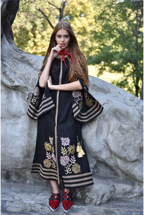 Dress embroidered Knyajna black