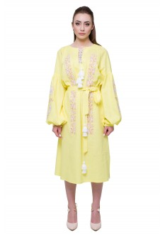 "Embroidered dress ""Nevistochka"" yellow"