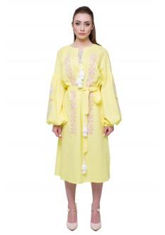 Платье вышитое «Nevistochka» жёлтая