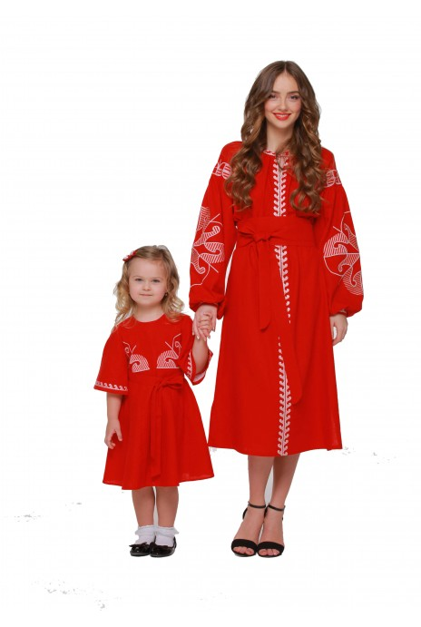 "Dresses embroidered for Mom and Daughter ""Vesnyanka"" claret"