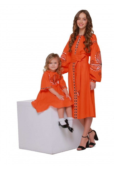 "Dresses embroidered for Mom and Daughter ""Awakening"" orange"