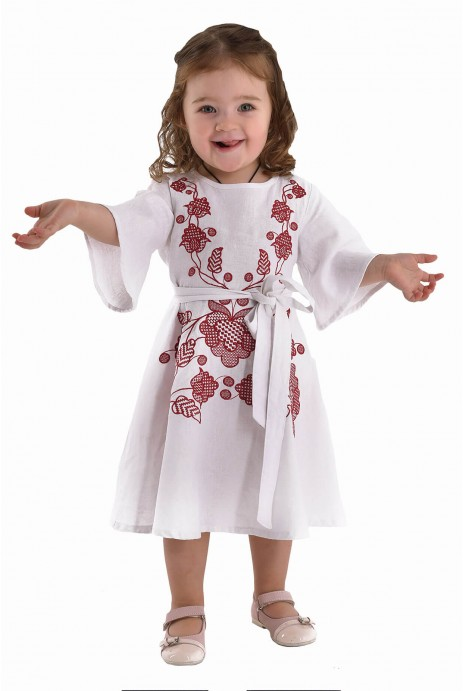 "Embroidered dress for girls ""Thunder"" claret"