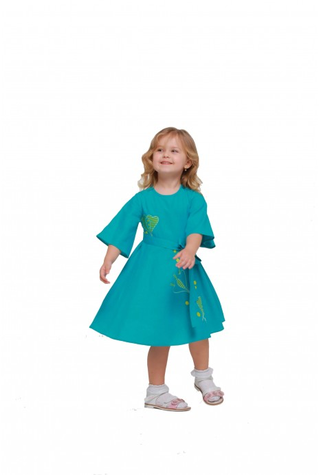 "Girl dress embroidered ""Pervotsvet"" turquoise"