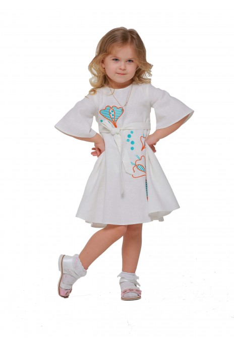 "Girl dress embroidered ""Pervotsvet"" milk"