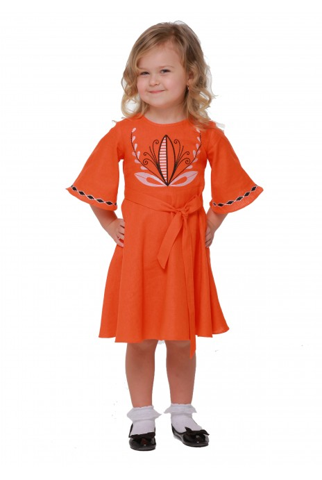 "Girl dress embroidered ""Awakening"" orange"