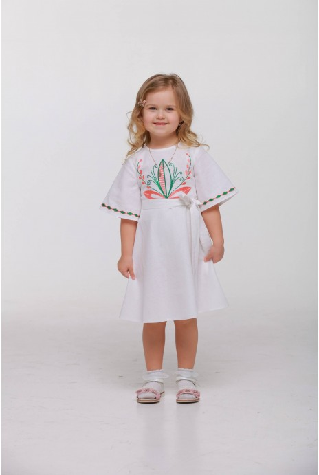 "Girl dress embroidered ""Awakening"" white"