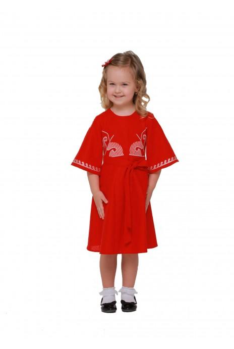 Детское платье вышиванка «Веснянка» бордо