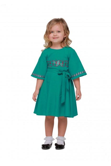 Детское платье вышиванка «Веснянка» морская волна