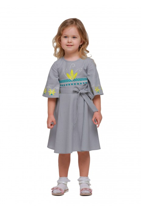 "Girl dress embroidered ""Shining"" grey"
