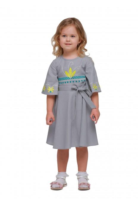 """Детское платье вышиванка """"Сияние"""" серое"""