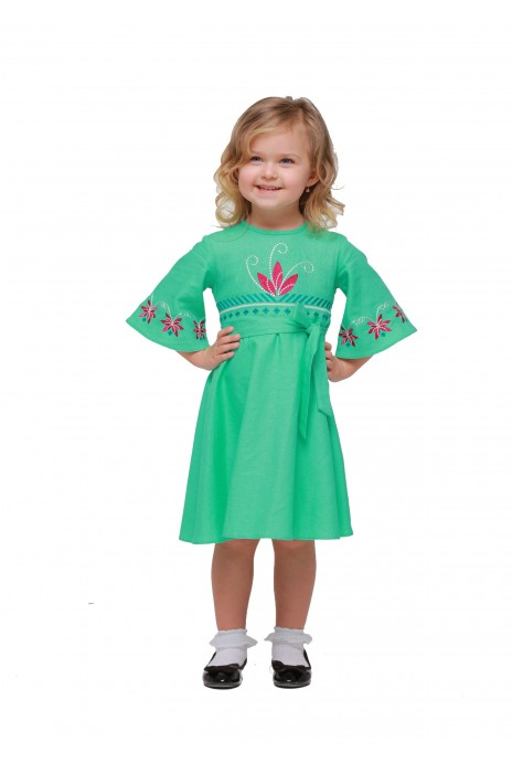 "Girl dress embroidered ""Shining"" mint"
