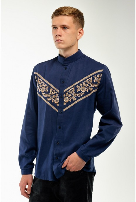 Embroidered shirt for men dark blue