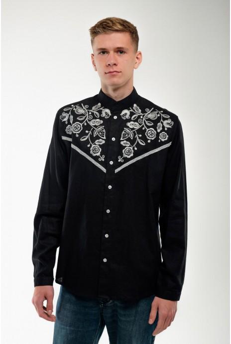 Мужская вышитая рубашка Знахидка черная