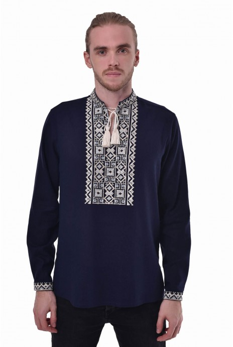 "Vyshyvanka for man ""Podilya"" navy"