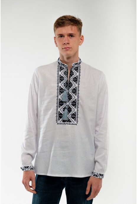 Embroidery for men white