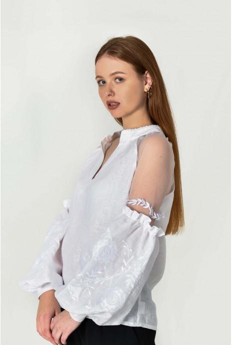 """Blouse embroidered """"Marevo"""" white"""