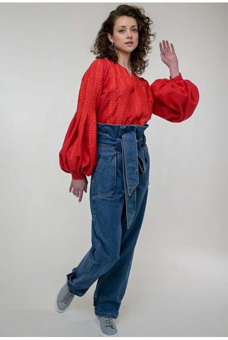 Embroidered blouse Strumivka red