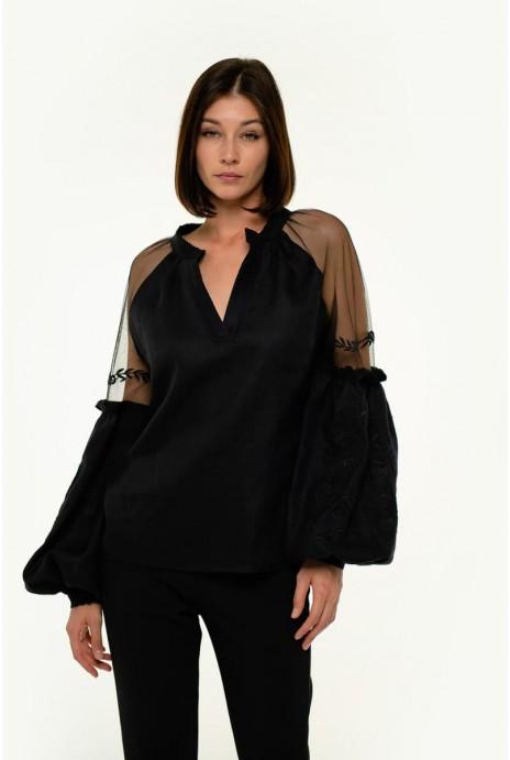 Embroidered blouse Marevo black