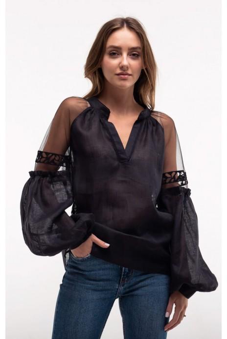 Блуза вишита Серпанок чорна