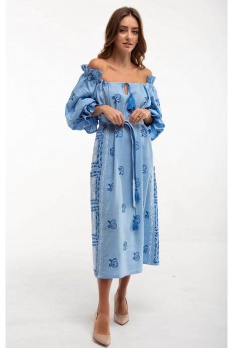 Платье вышиванка Барвинок голубое