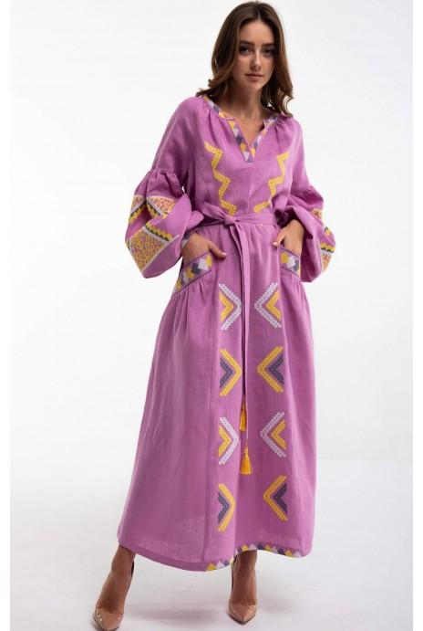 Платье вышитое «Vyriy» розовое