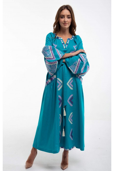 Сукня вишита «Вирій» бірюзова