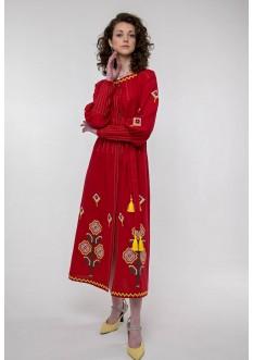Embroidered dress Melanka red