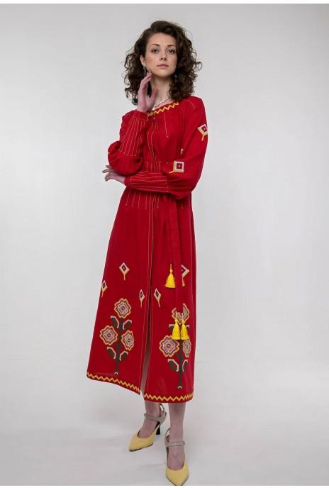 Вышитое платье Меланка красное