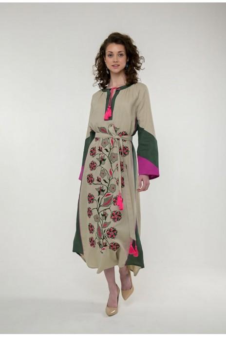 Вышитое платье Луга беж