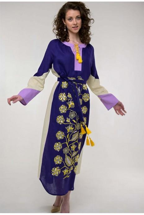 Вышитое платье Луга фиолет
