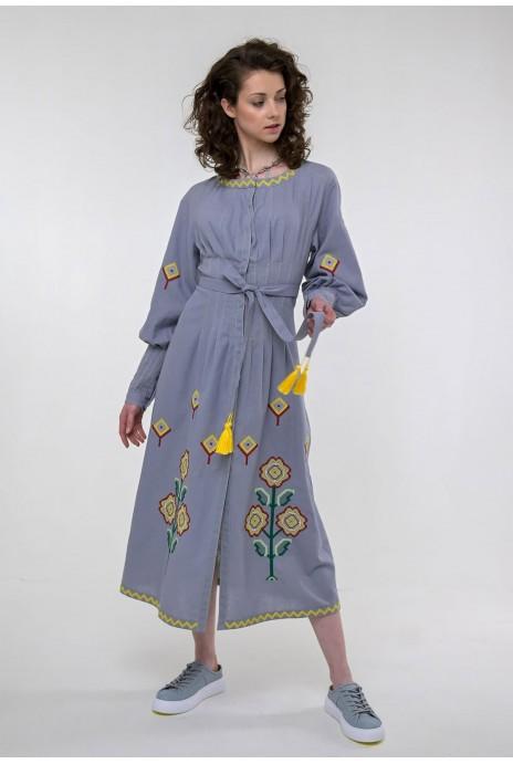 Вышитое платье Меланка серое