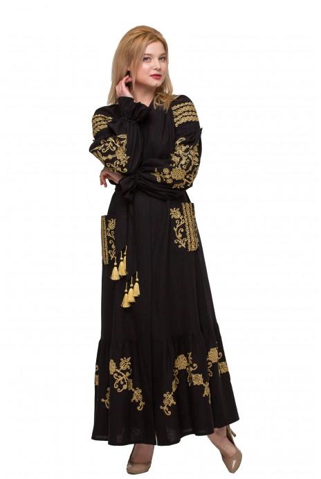 """Платье вышиванка """"Восточный сад"""" черное"""