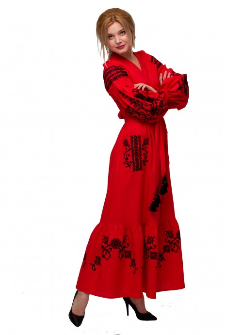 "Dress embroidered ""Eastern garden"" red"