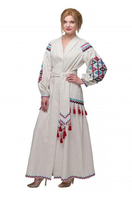 """Платье вышиванка """"Барвограй"""" беж"""