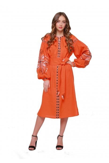 """Платье вышиванка """"Пробуждение"""" оранж"""