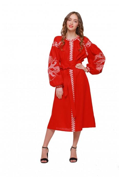 """Платье вышиванка """"Веснянка"""" бордо"""