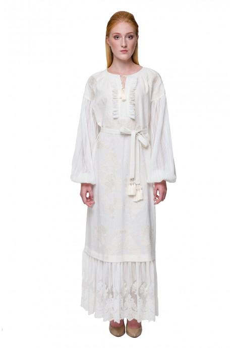 Платье вышиванка Мольфарка молочное