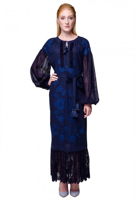 Платье вышиванка Мольфарка темно-синяя