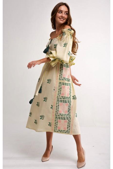 Платье вышиванка Барвинок желтое