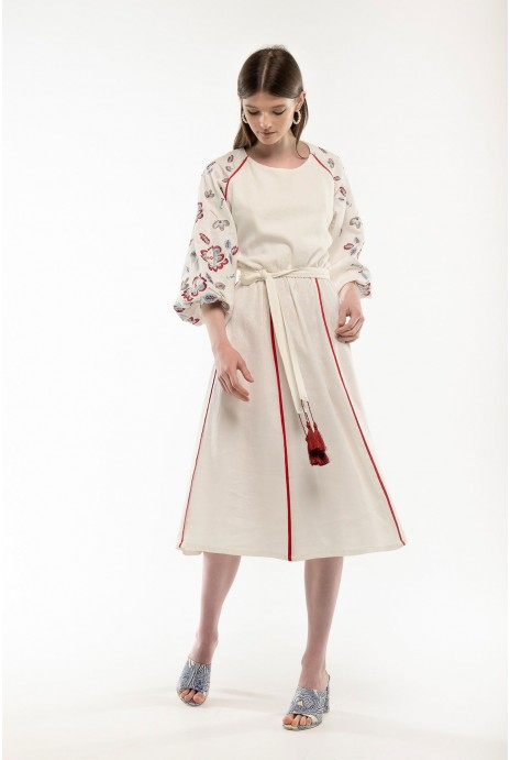 Embroidered dress Yasochka milky