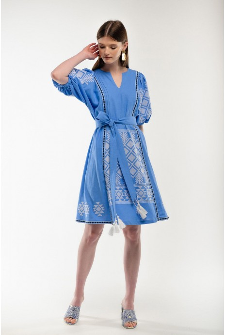 Embroidered dress Mylosya lightblue
