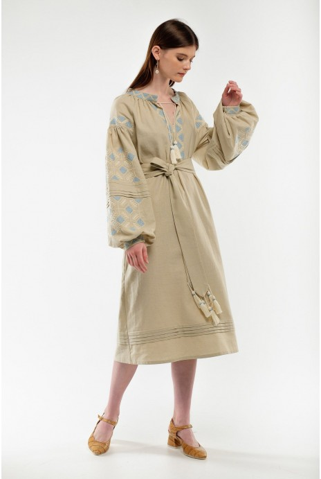 Embroidered dress Spadok beige